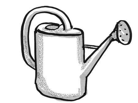 Retro cartoon style drawing of a plastic water or watering can, a garden or gardening tool equipment on isolated white background done in black and white