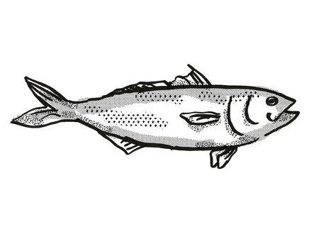 Dibujo al estilo de dibujos animados retro de un salmón de Australia Oriental, una especie de vida marina australiana nativa vista desde el lado sobre fondo blanco aislado realizado en blanco y negro.