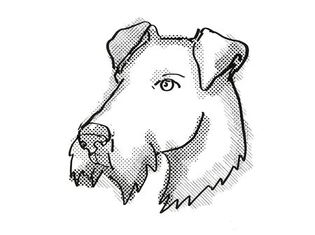 Retro cartoon style drawing of head of an Airdale Terrier  , a domestic dog or canine breed on isolated white background done in black and white. Zdjęcie Seryjne