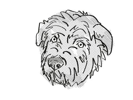 Retro cartoon style drawing of head of a Glen of Imaal Terrier, a domestic dog or canine breed on isolated white background done in black and white.