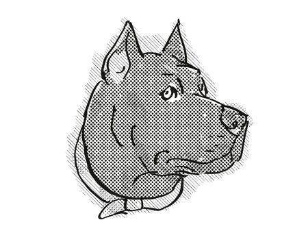 Retro cartoon style drawing of head of a Cane Corso, a domestic dog or canine breed on isolated white background done in black and white.