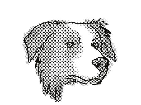 Retro cartoon style drawing of head of a Border Collie , a domestic dog or canine breed on isolated white background done in black and white.