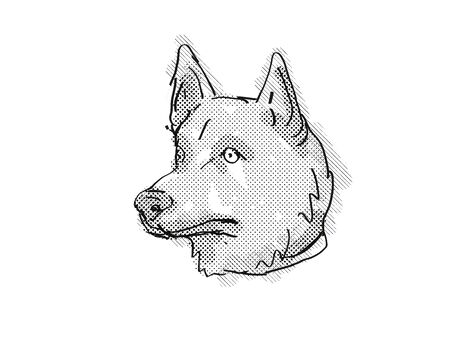 Retro cartoon style drawing of head of a Corgi Inu a mixed breed dog viewed from side on isolated white background done in black and white.