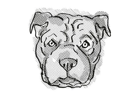 Retro cartoon style drawing of head of a Chinese Shar-Pei, a domestic dog or canine breed on isolated white background done in black and white.