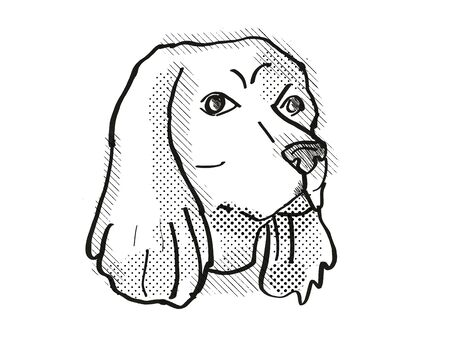 Retro cartoon style drawing of head of a Cocker Spaniel , a domestic dog or canine breed on isolated white background done in black and white.