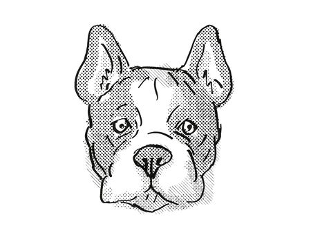 Retro cartoon style drawing of head of a French Bulldog, a domestic dog or canine breed on isolated white background done in black and white.