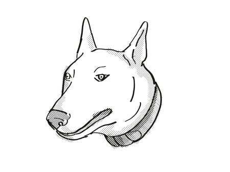 Retro cartoon style drawing of head of a Bull Terrier, a domestic dog or canine breed on isolated white background done in black and white.