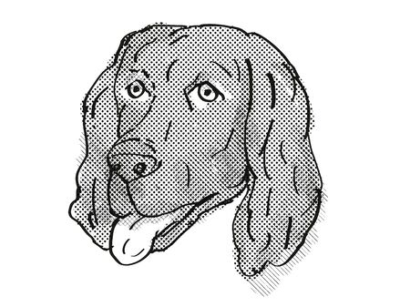 Retro cartoon style drawing of head of a Flat-Coated Retriever, a domestic dog or canine breed on isolated white background done in black and white.