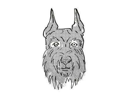 Retro cartoon style drawing of head of a Giant Schnauzer, a domestic dog or canine breed on isolated white background done in black and white. Фото со стока