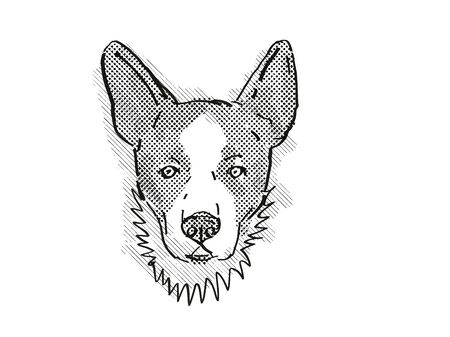 Retro cartoon style drawing of head of a Cardigan Welsh Corgi, a domestic dog or canine breed on isolated white background done in black and white. Banco de Imagens