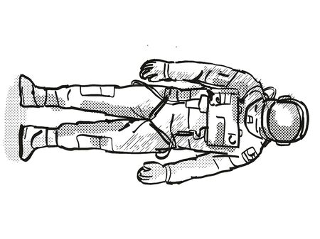 Retro cartoon style drawing of a vintage astronaut or spaceman wearing spacesuit viewed from front on isolated white background done with half-tone dots in black and white.