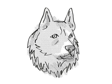 Retro cartoon style drawing of head of a Finnish Spitz, a domestic dog or canine breed on isolated white background done in black and white.