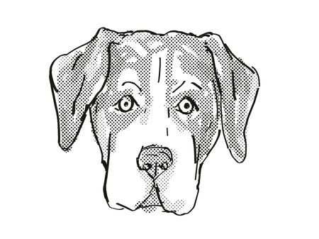 Retro cartoon style drawing of head of an Entlebucher Mountain Dog, a domestic canine breed on isolated white background done in black and white. Banco de Imagens