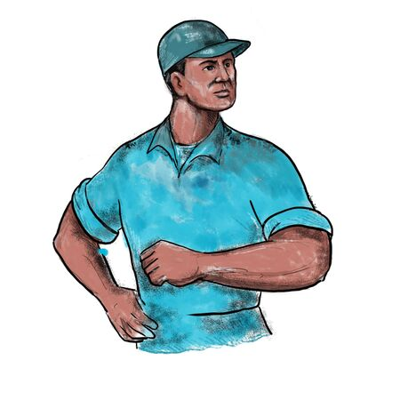 Drawing watercolor  sketch style illustration of union worker with hand on hips on isolated white background.