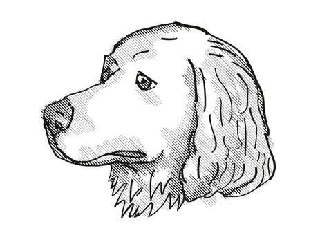 Retro cartoon style drawing of head of a Great Pyrenees, a domestic dog or canine breed on isolated white background done in black and white. Banco de Imagens