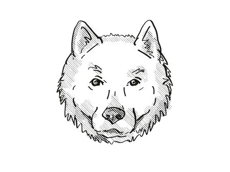 Retro cartoon style drawing of head of a Hokkaido, Ainu-ken, Seta, or Ainu dog, a domestic canine breed on isolated white background done in black and white.