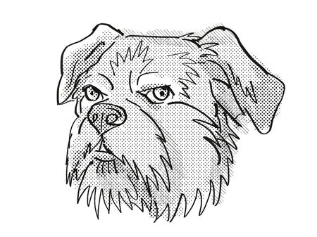 Retro cartoon style drawing of head of a Brussels Griffon, a domestic dog or canine breed on isolated white background done in black and white. Фото со стока