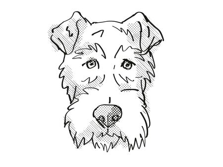Retro cartoon style drawing of head of a Fox Terrier, a domestic dog or canine breed on isolated white background done in black and white.