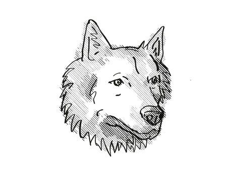 Retro cartoon style drawing of head of a Goberian, a domestic dog or canine breed on isolated white background done in black and white. Фото со стока