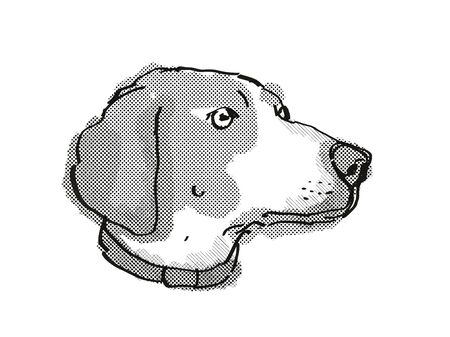 Retro cartoon style drawing of head of a Boglen Terrier also called Boggle or Boston Beagle Terrier  , a domestic dog or canine breed on isolated white background done in black and white.