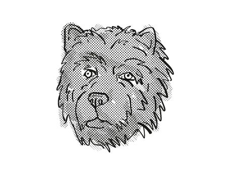 Retro cartoon style drawing of head of a Chow Chow, a domestic dog or canine breed on isolated white background done in black and white.