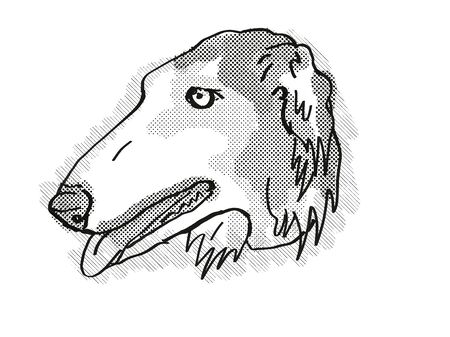 Retro cartoon style drawing of head of a Borzoi , a domestic dog or canine breed on isolated white background done in black and white.