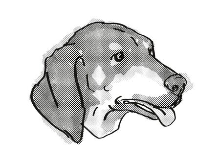 Retro cartoon style drawing of head of a Black and Tan Coonhound  , a domestic dog or canine breed on isolated white background done in black and white. Banco de Imagens