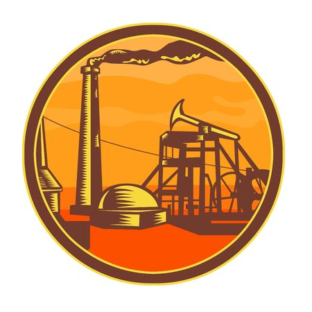 Icon retro style illustration of an industrial revolution oil well or mine head with steam engine driven pumpjack set inside circle on isolated background.