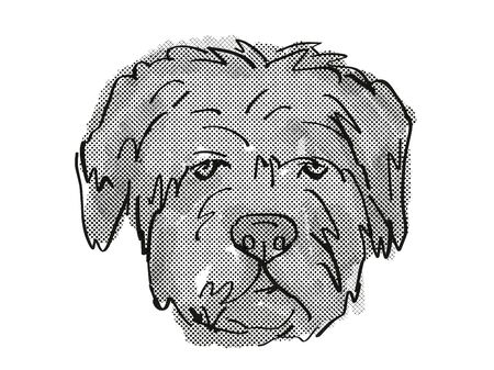 Retro cartoon style drawing of head of a Bouvier des Flandres   , a domestic dog or canine breed on isolated white background done in black and white.