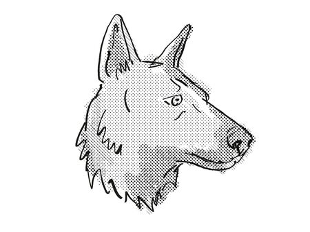 Retro cartoon style drawing of head of a German Shepherd, a domestic dog or canine breed on isolated white background done in black and white. Banco de Imagens