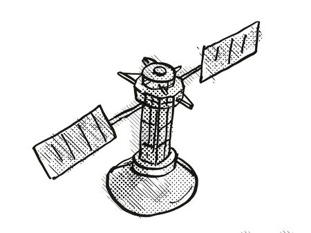 Retro cartoon style drawing of a vintage spaceprobe or space satellite on isolated white background done with half-tone dots in black and white.