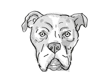 Retro cartoon style drawing of head of a Bullboxer Pit also sometimes called the Pixoter or American Bullboxer, a domestic dog or canine breed on isolated white background done in black and white.