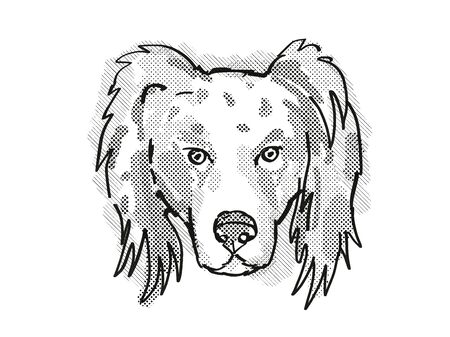 Retro cartoon style drawing of head of an Australian Shepherd dog  , a domestic dog or canine breed on isolated white background done in black and white. Banco de Imagens