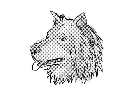Retro cartoon style drawing of head of a Eurasier, Eurasian Spitz or Wolf-Chow, a domestic dog or canine breed on isolated white background done in black and white.