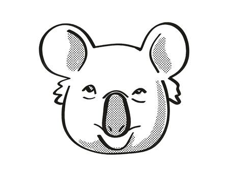 Retro cartoon mono line style drawing of head of a Koala or Phascolarctos Cinereus, Australias most iconic fluffy marsupial, an endangered wildlife species on isolated white background done in black and white. Stock fotó
