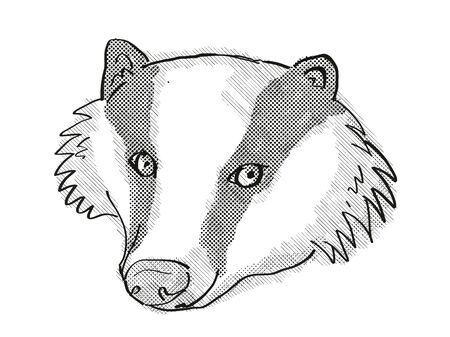 Retro cartoon style drawing of head of a Eurasian Badger on isolated white background done in black and white. Zdjęcie Seryjne