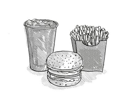 Retro cartoon style drawing of a hamburger or cheeseburger burger, small  fries and soft drink in fountain cup on isolated white background done in black and white 版權商用圖片
