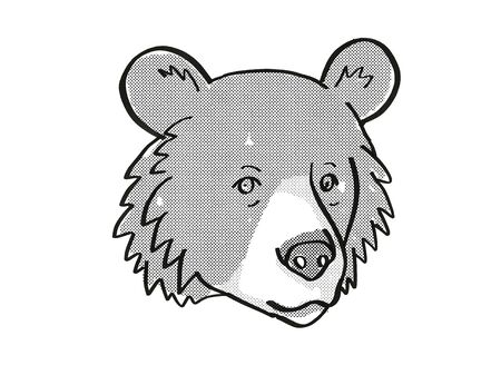 Retro cartoon mono line style drawing of head of an Asiatic Black Bear or Ursus tibetanus, an endangered wildlife species on isolated white background done in black and white. Stock fotó