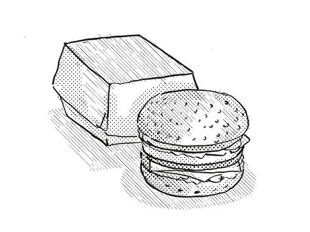 Retro cartoon style drawing of a hamburger or cheeseburger burger meal with packaging on isolated white background done in black and white
