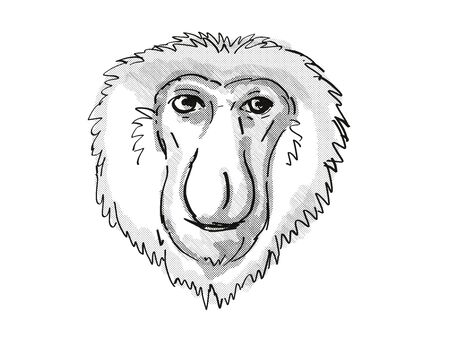 Retro cartoon style drawing of head of a Proboscis Monkey, a medium-sized arboreal primate in Borneo and an endangered wildlife species on isolated white background done in black and white.