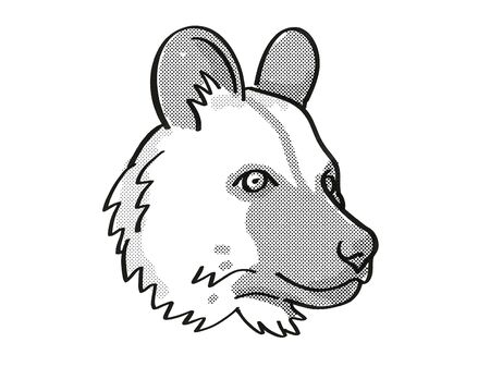 Retro cartoon mono line style drawing of head of an African Wild Dog also known as Painted Dog and Cape Hunting Dog, an endangered wildlife species on isolated background done in black and white. Stock fotó