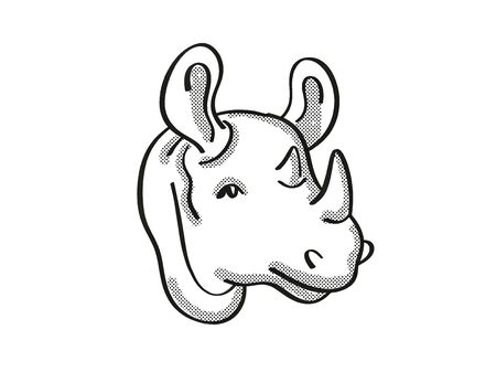 Retro cartoon mono line style drawing of head of a Black rhinoceros, an endangered wildlife species on isolated white background done in black and white.