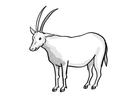 Retro cartoon mono line style drawing of a scimitar oryx, scimitar-horned oryx or Sahara oryx, an endangered wildlife species on isolated white background done in black and white full body. Фото со стока