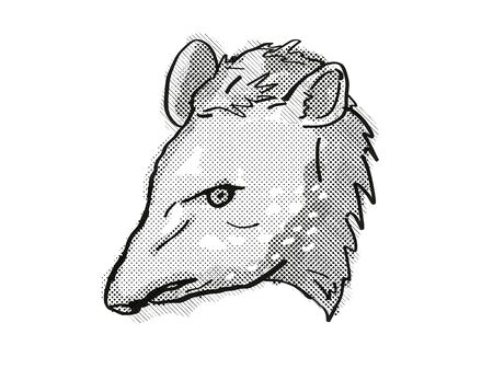 Retro cartoon style drawing of head of a tapir, a large mammal with pig-like appearance and an endangered wildlife species on isolated white background done in black and white.