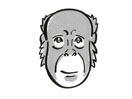 Retro cartoon mono line style drawing of head of a Bornean Orang-utan also known as the Red Ape, an endangered wildlife species on isolated white background done in black and white.