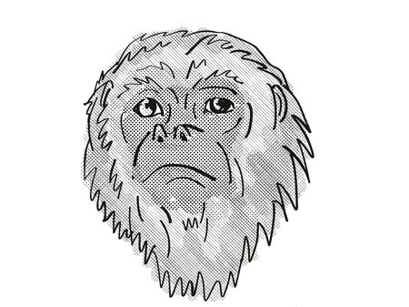 Retro cartoon style drawing head of a Yucatan Black Howler Monkey, a primate species viewed from front on isolated white background done in black and white Фото со стока