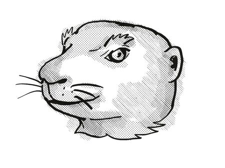 Retro cartoon style drawing of head of a Utah Prairie Dog, an endangered wildlife species on isolated white background done in black and white.