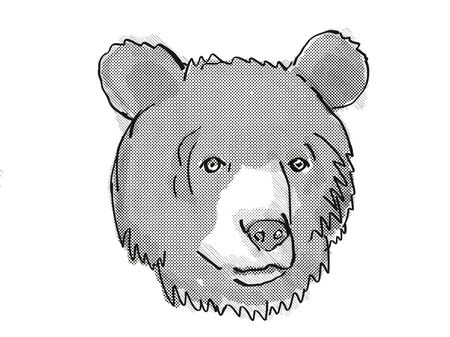 Retro cartoon style drawing of head of an Asiatic Black Bear , an endangered wildlife species on isolated white background done in black and white.