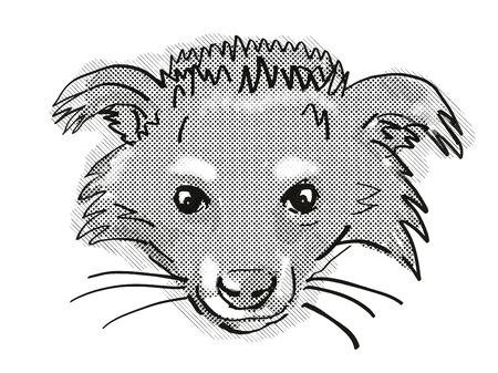 Retro cartoon style drawing of head of a Binturong or Arctictis binturong, an endangered wildlife species on isolated white background done in black and white.