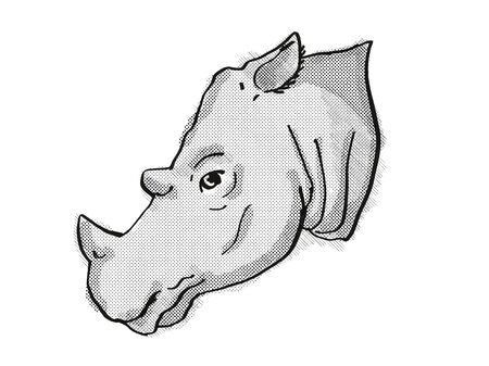 Retro cartoon style drawing of head of a Sumatran Rhinoceros , an endangered wildlife species on isolated white background done in black and white.